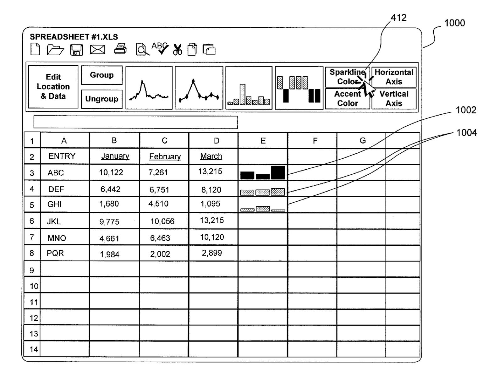 Tufte sparkline Microsoft patent Excel