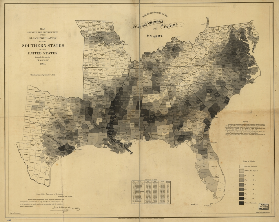 distribution of the US slave population in 1860
